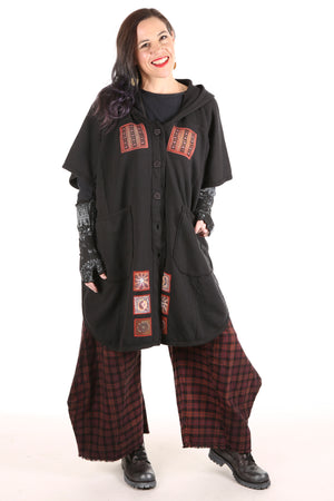 5258 Black Sherpa Hooded Cape -Black-Patched #5