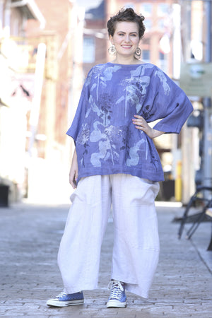 Oversized Square Linen Top  Deep Periwinkle L594-P