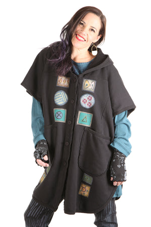 5258 Black Sherpa Hooded Cape -Black-Patched #4