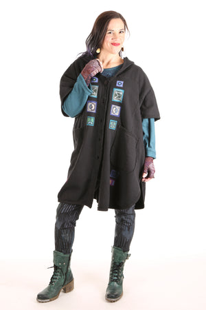 5258 -Black Sherpa Hooded Cape - Black-purple/turq multi -#6