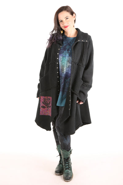 5240 Fleece Sherpa Coat Black Patched Floral