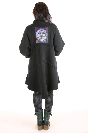 5240 Fleece Sherpa Coat Black Patched Moon