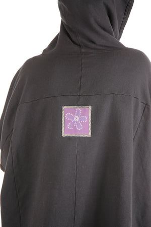 5258 Black Sherpa Hooded Cape-Black #8-Patched