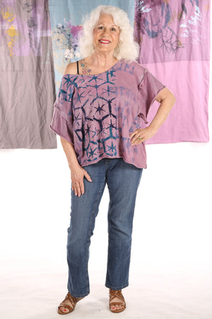 2295 Deconstructed Art Tee Hand Dyed- Soft Plum