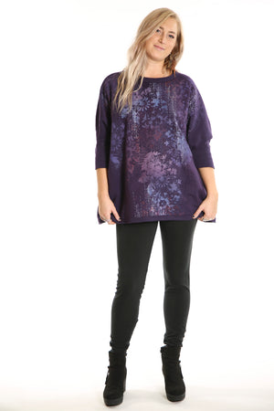 2210  Cozy Fleece Square Sweatshirt Printed Royal Purple Antique Floral