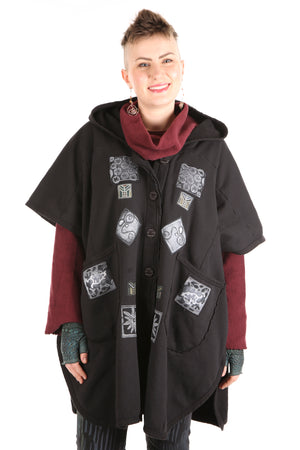 5258 Black Sherpa Hooded Cape -Black-B & W Patched #7