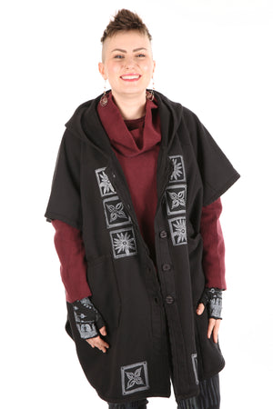 5258 Black Sherpa Hooded Cape -Black-B & W simple patched #9