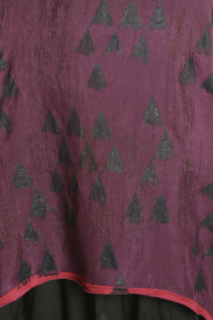 6113 B Organza Shift-Winterberry-hand printed with black/ ink triangles