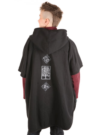 5258 -Organic Sherpa Hooded Cape - Black- blk & white patched #10