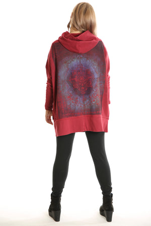 5261 New Rib Zipper Hoodie Tibetan Red -Magic Carpet Print