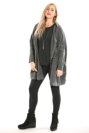 5235B Hoodie Jacket Distressed Army Green- Printed