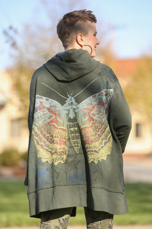 5261 Slim Rib Hoodie Organic Cotton Sweatshirt Army Green Charaxes