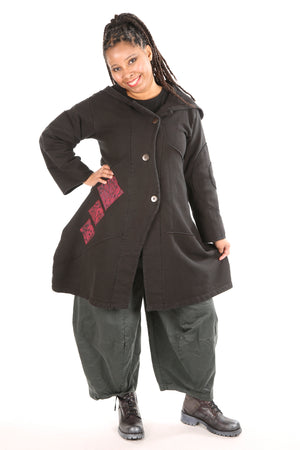 5227 Fleece Fig Coat Black- red triple Patched sz 0