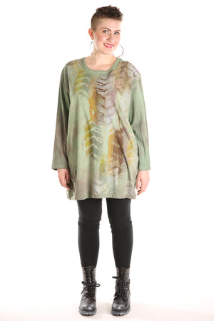 1157HD- L/S Hand Dyed Studio Tee Mottled Greens Deep Olive Printed