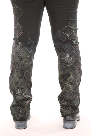 3176 Cotton/Hemp Slim Pant Fan Print-P