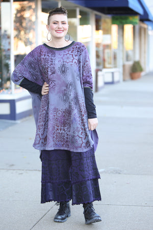 2251HD  Natural City Tunic Violet Hand Dyed 'Purples Dreaming'
