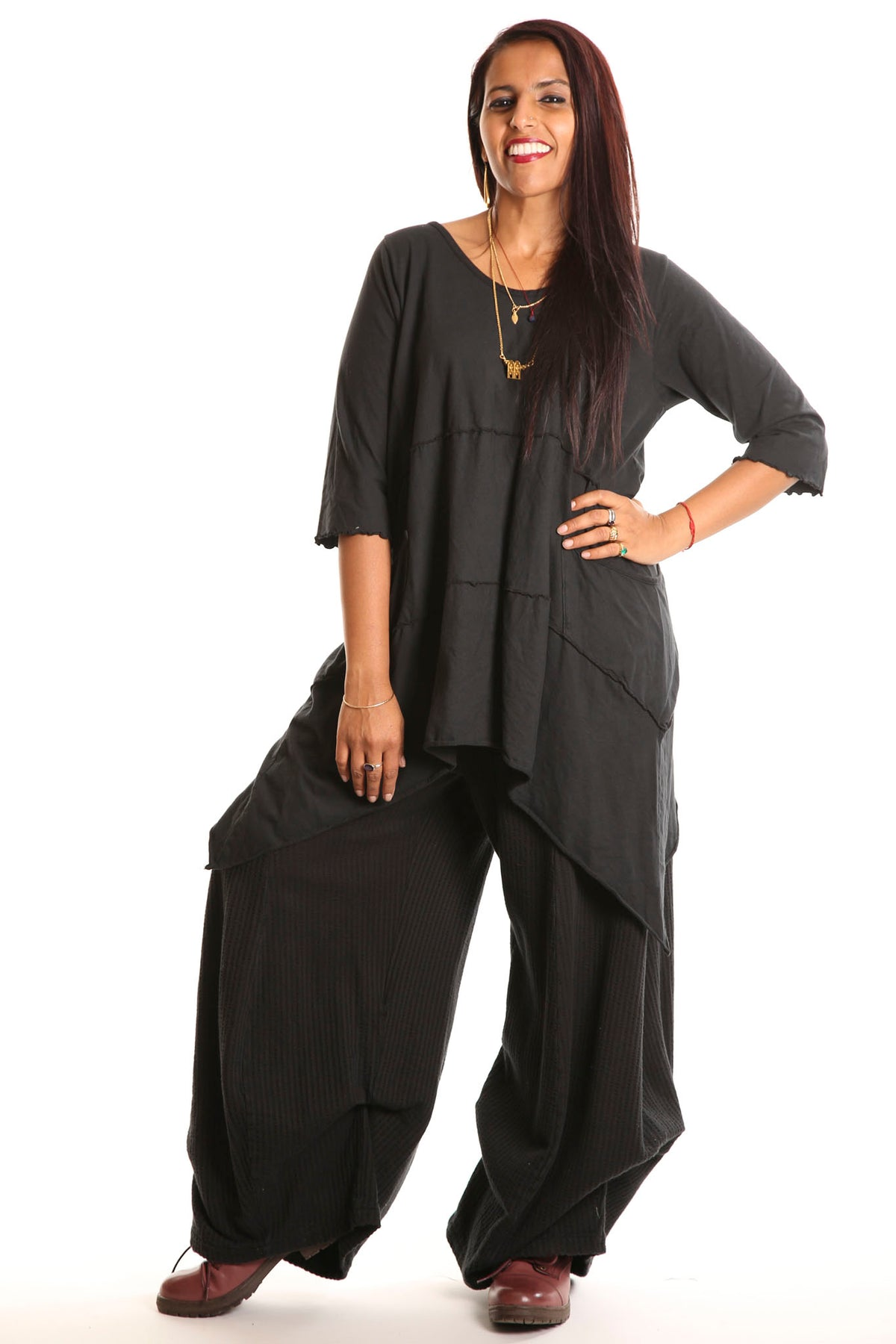 3267 Textured Knit Billow Pants Black UnPrinted