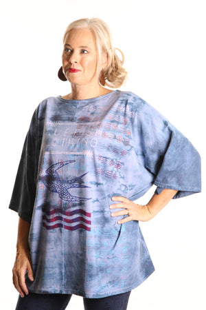 1236 Hand Dyed Line Tunic Printed -Eclipse Journey
