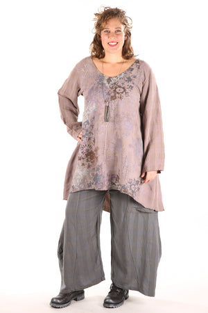 2238- Long Tunic Pink Quartz Floral Cascade