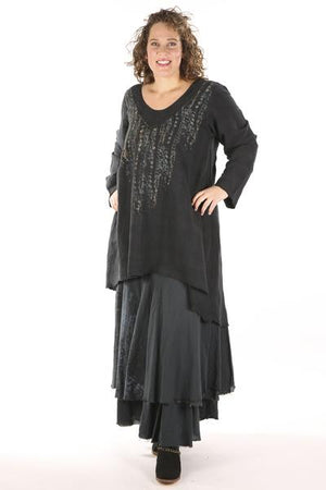 2238- Long Tunic Mineral Black-Ancient Wisdom
