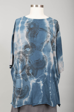 Hand Dyed Line Tunic Printed Carribean Azure-Blue Fish Clothing