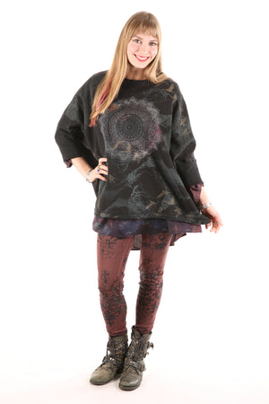 2210  Cozy Fleece Square Sweatshirt Printed Black