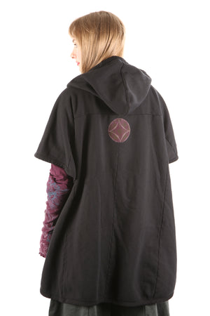 5258 Black Sherpa Hooded Cape -Black-Patched #14