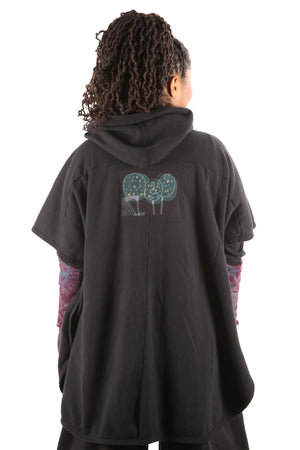 5258 Black Sherpa Hooded Cape -Black-Patched #15
