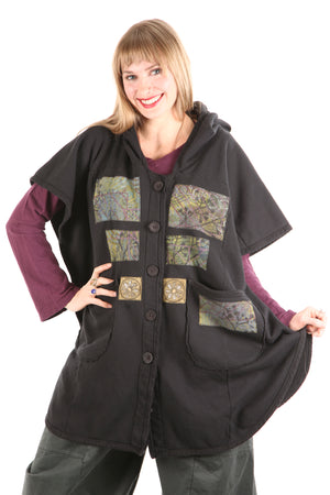 5258 Black Sherpa Hooded Cape -Black-Patched Purples, green #13