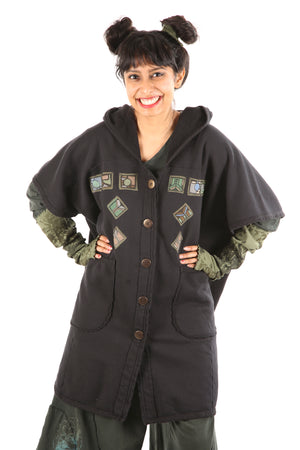 5258 Black Sherpa Hooded Cape -Black-Patched #11