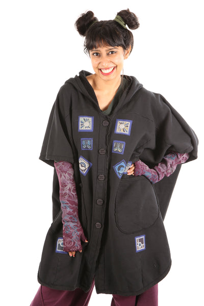 5258 Black Sherpa Hooded Cape -Black-Patched #16