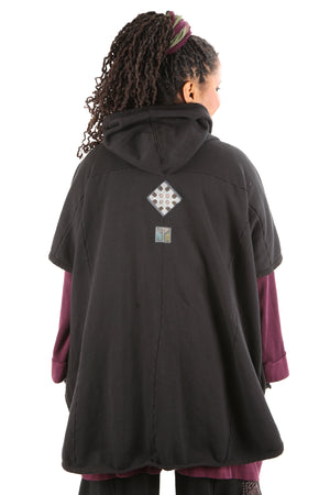 5258 Black Sherpa Hooded Cape -Black-Patched #18