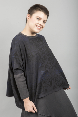 2266 Square Pullover Dark Charcoal Printed-Blue Fish Clothing