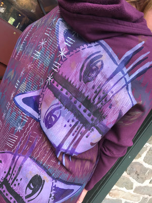 Frenchtown New Rib Cat Print Zipper Hoodie