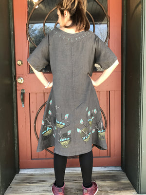 Coffee Spritz Linen Dress