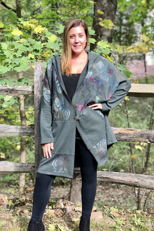 Frenchtown Artisan Sweatshirt Dark Olive Jacket-Century Print and Patches