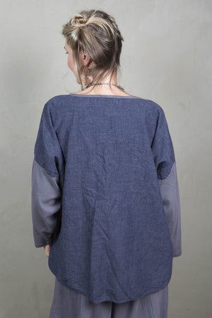Hemp Denim Throw Over UnPrinted-Blue Fish Clothing
