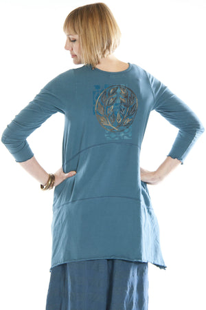 Shape Tunic Printed-Blue Fish Clothing