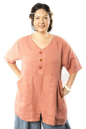 Button Linen Tunic Salmon Printed