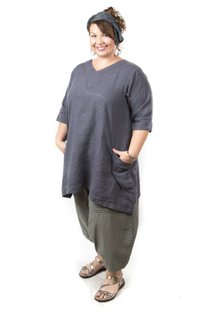 Crossover Linen Shale Tunic UnPrinted