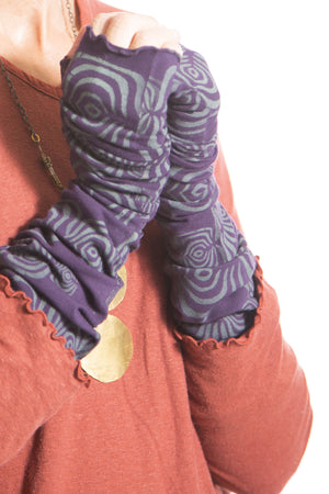Long Fingerless Gloves Printed-Blue Fish Clothing