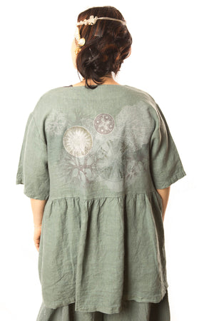 Button Linen Tunic Printed