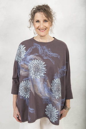 Distressed Mariposa Square Top Printed- Blue Fish Clothing