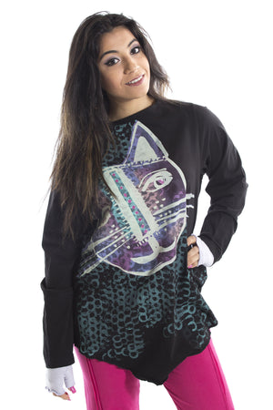 Crewneck Longsleeve Wedge Top Printed-Blue Fish Clothing