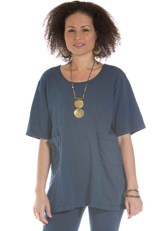 Empire Waist 2 Pocket Tunic UnPrinted- Blue Fish Clothing