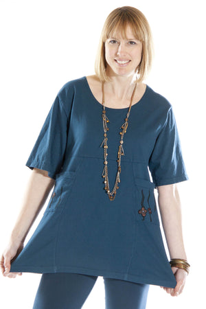 Empire Waist 2 Pocket Tunic Printed-Blue Fish Clothing
