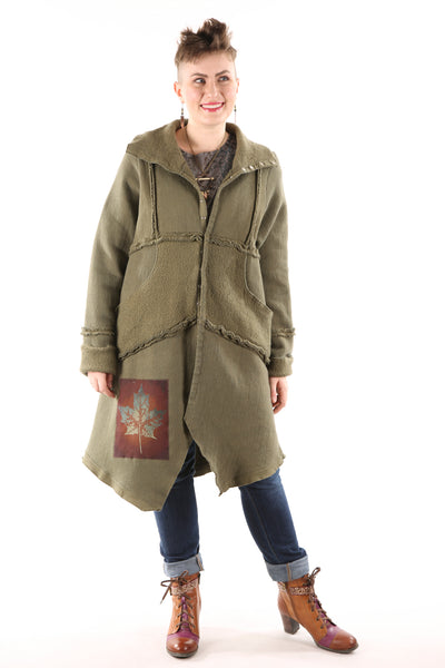 5249 Fleece Sherpa Coat Patched Moss