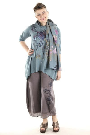 8001 Organic Stripe & Lawn Hand Printed Big Scarf Kingfisher-P