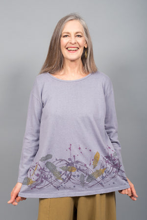 Hemp Cotton Top French Lilac Printed