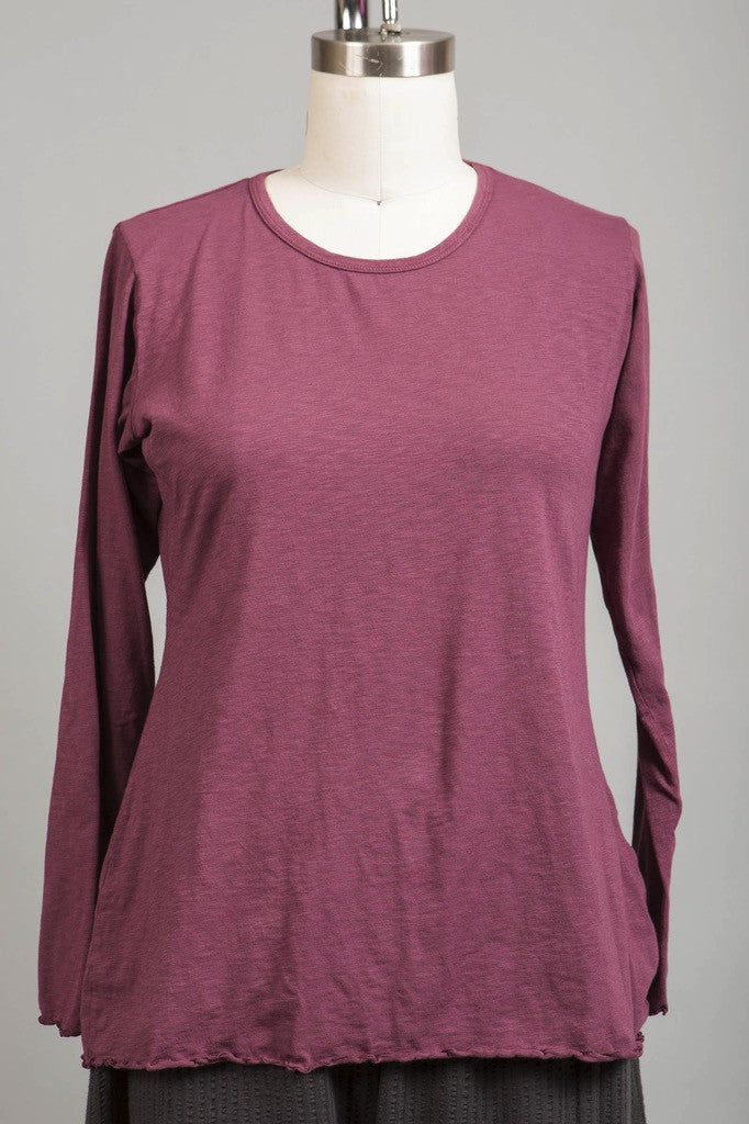 Textured Layer Tee UnPrinted Plum Rose-Blue Fish Clothing